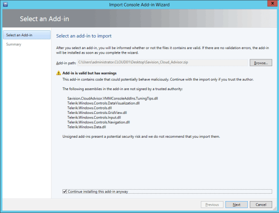 Import Cloud Advisor Addin into VMM