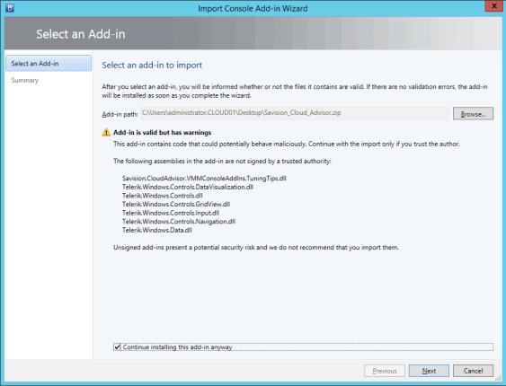 Import Cloud Advisor Addin into VMM