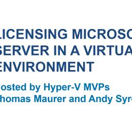 Licensing Microsoft Server in a Virtual Environment