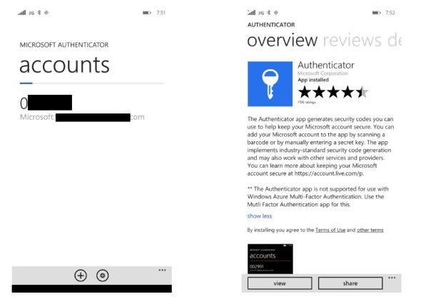 Microsoft Account Authenticator App