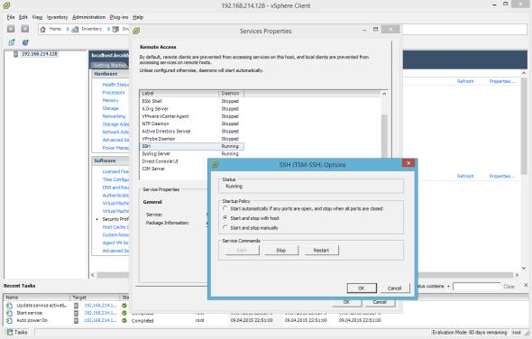 VMware ESXi 6.0 Enable SSH Service