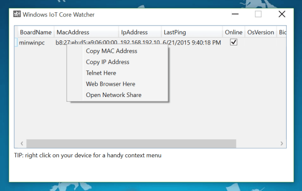 Windows 10 IoT Core Watcher Access