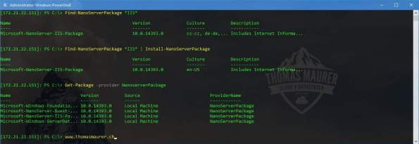 Install Nano Server Package PowerShell Package Management