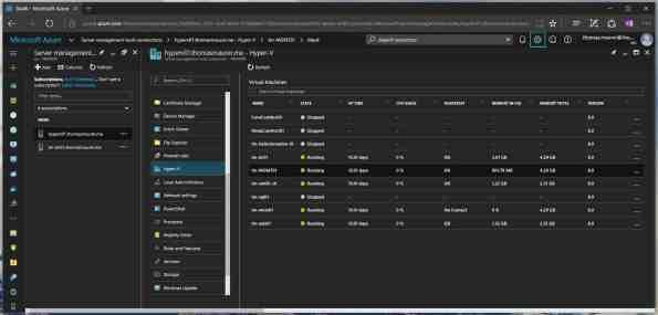 Hyper-V Manager ins Azure Server Management Tools SMT