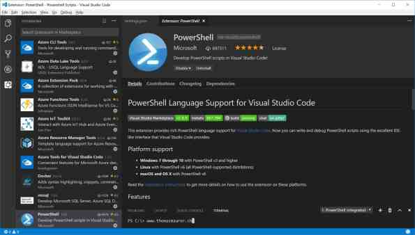 PowerShell for Visual Studio Code