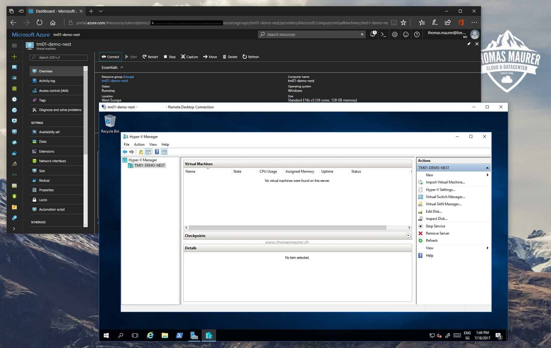 After the installation you have Hyper V installed and enabled inside your Azure Virtual Machine now you need to configure the networking for the Hyper V