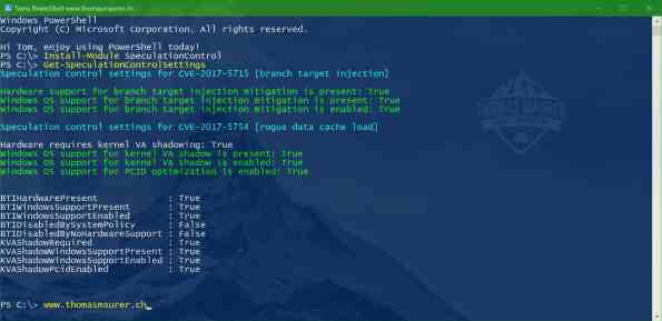 Windows SpeculationControl PowerShell