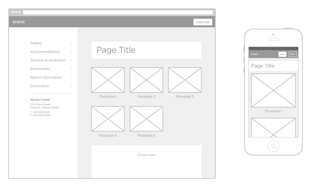 Corporate resort directory wireframe