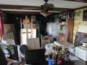 Unfinished Paintings in Tom Hudson's Studio