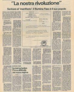 Il Manifesto 23 octobre 1987 page de l'interview