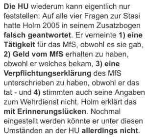 """Stasi - Falschaussagen von Holm laut """"Tagesspiegel"""""""
