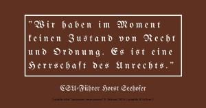 """Seehofer spricht von """"herrschaft des Unrechts"""" und meint Deutschland"""