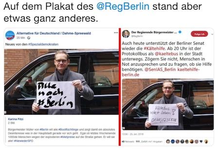 Die AfD fälscht ein Plakat, in dem behauptet wird, Berlin wolle alle möglichen Flüchtlinge einladen.