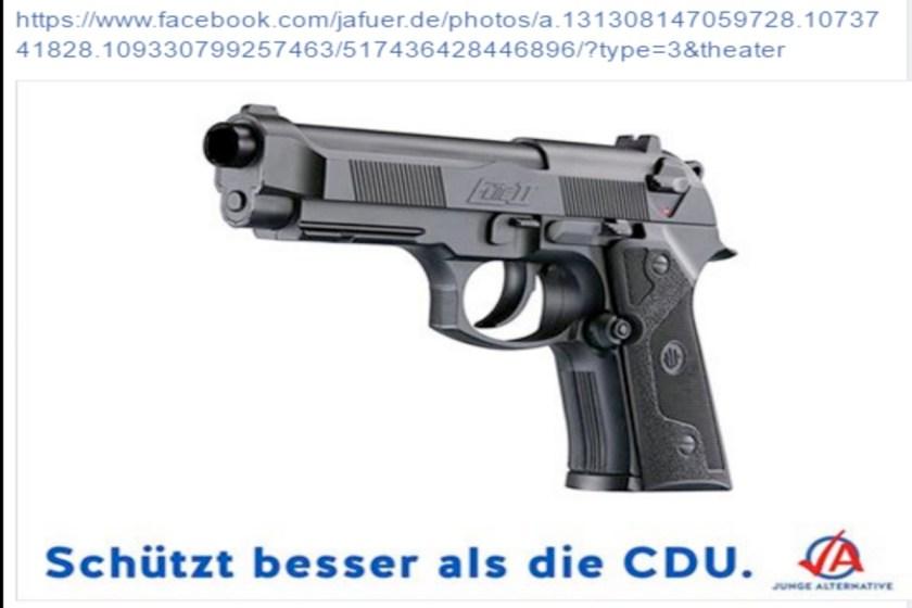 """Foto mit einer Pistole, von der Jugendorganisation der AfD, der """"Jungen Alternative"""" aus dem Jahr 2017"""