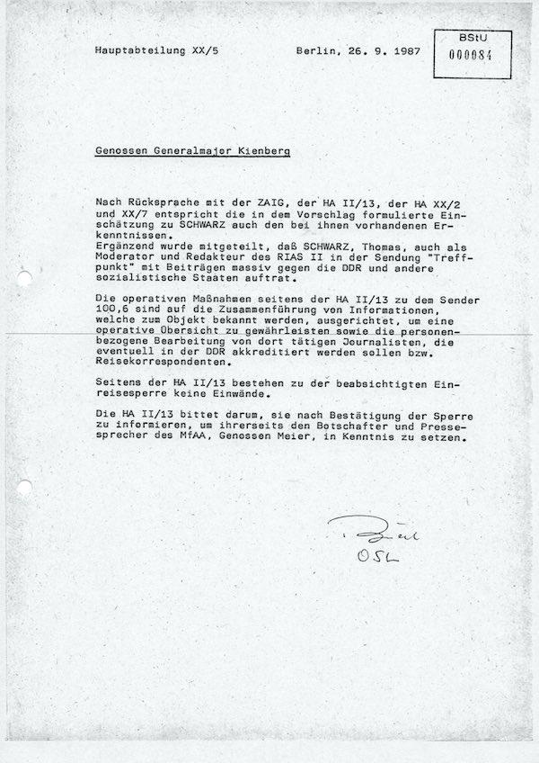Akte des Staatssicherheitsdienstes der DDR über die Einreisesperre für Thomas Schwarz vom 26. 9. 1987 | Quelle Stasiunterlagen-Behörde