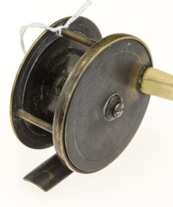 Chas Farlow & Co. Makers Brass Plate Wind Fishing reel 2 1/2 inch.