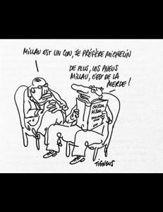 Dessin de Tignous, de Marianne, pour le livre de Périco Légasse: la «nouvelle cuisine» a aussi engendré une «guerre des guides gastronomiques».