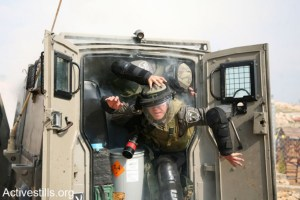 Protest against the wall, Bilin, West Bank, 7.2.2014
