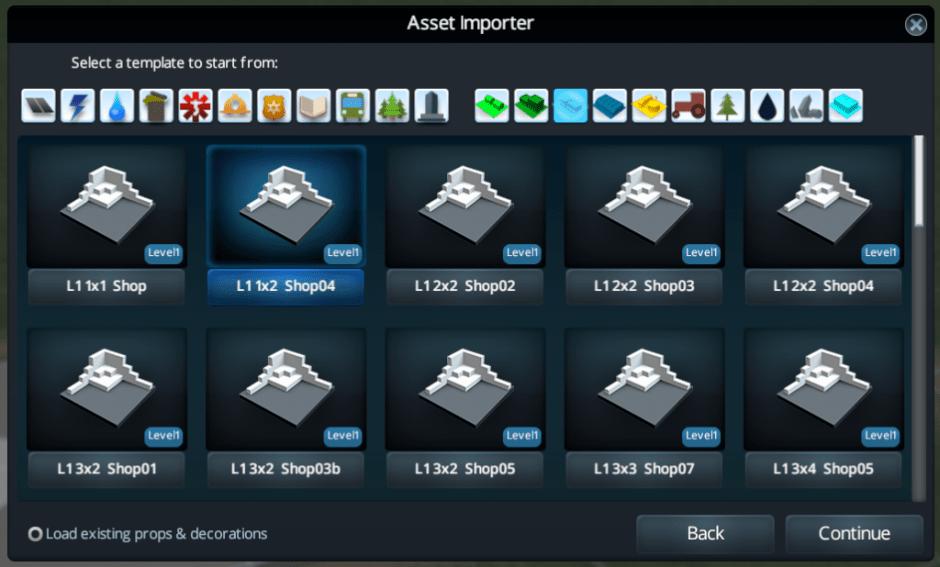 Asset Importer selecting L1 1x5 Shop04