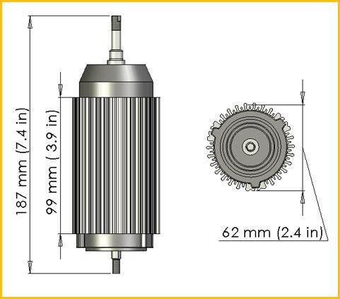 Thor Power Trezium Electric Motor System ~ Dimensions of Grismir Motor