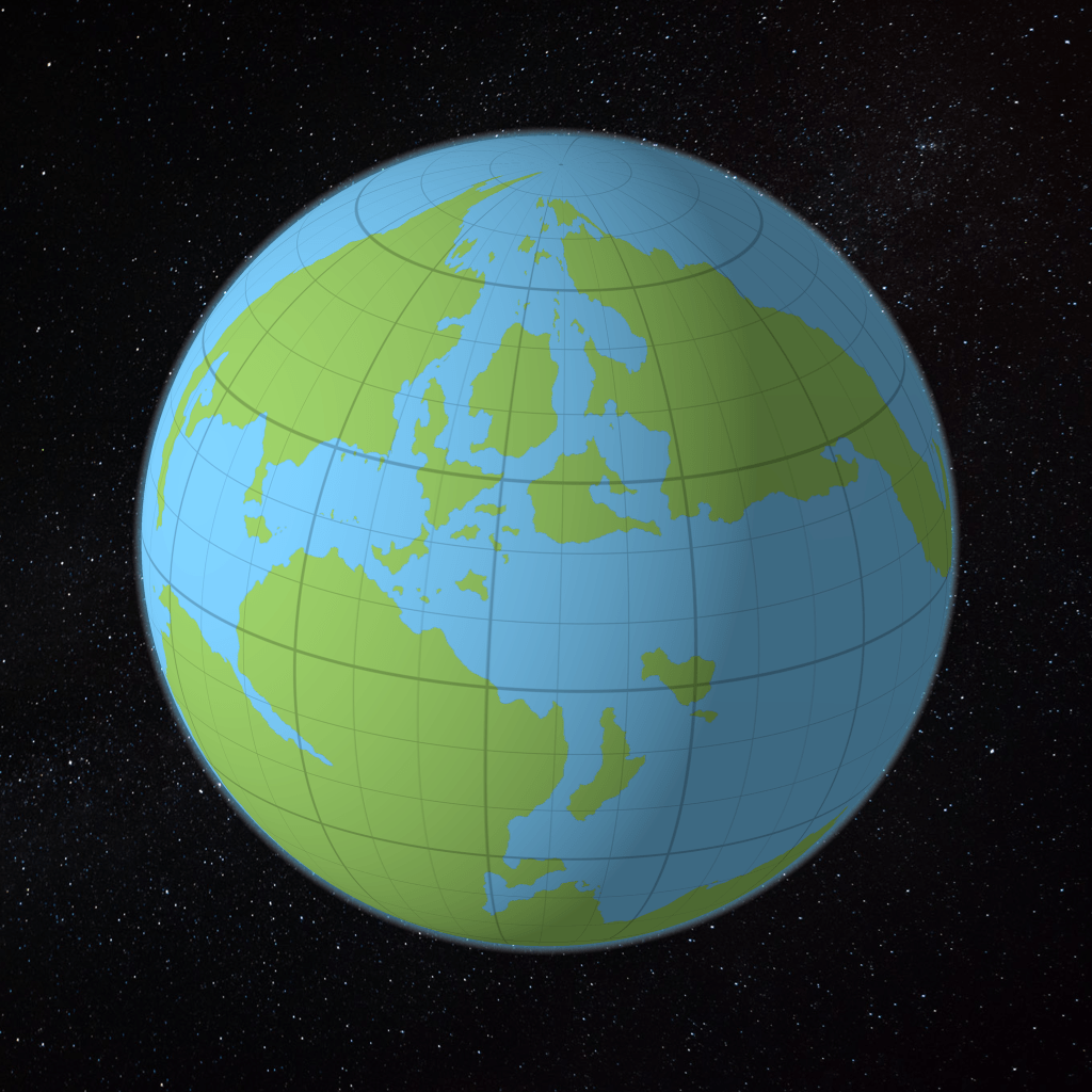 The world map applied to a spheroid
