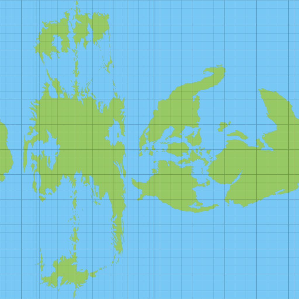 Revised texture map for Mystara's globe