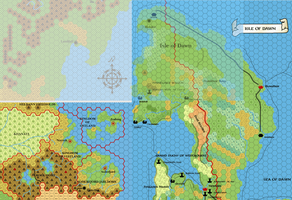 CM1's Norwold (50% opacity) with X1's Known World and Dawn's Isle of Dawn.