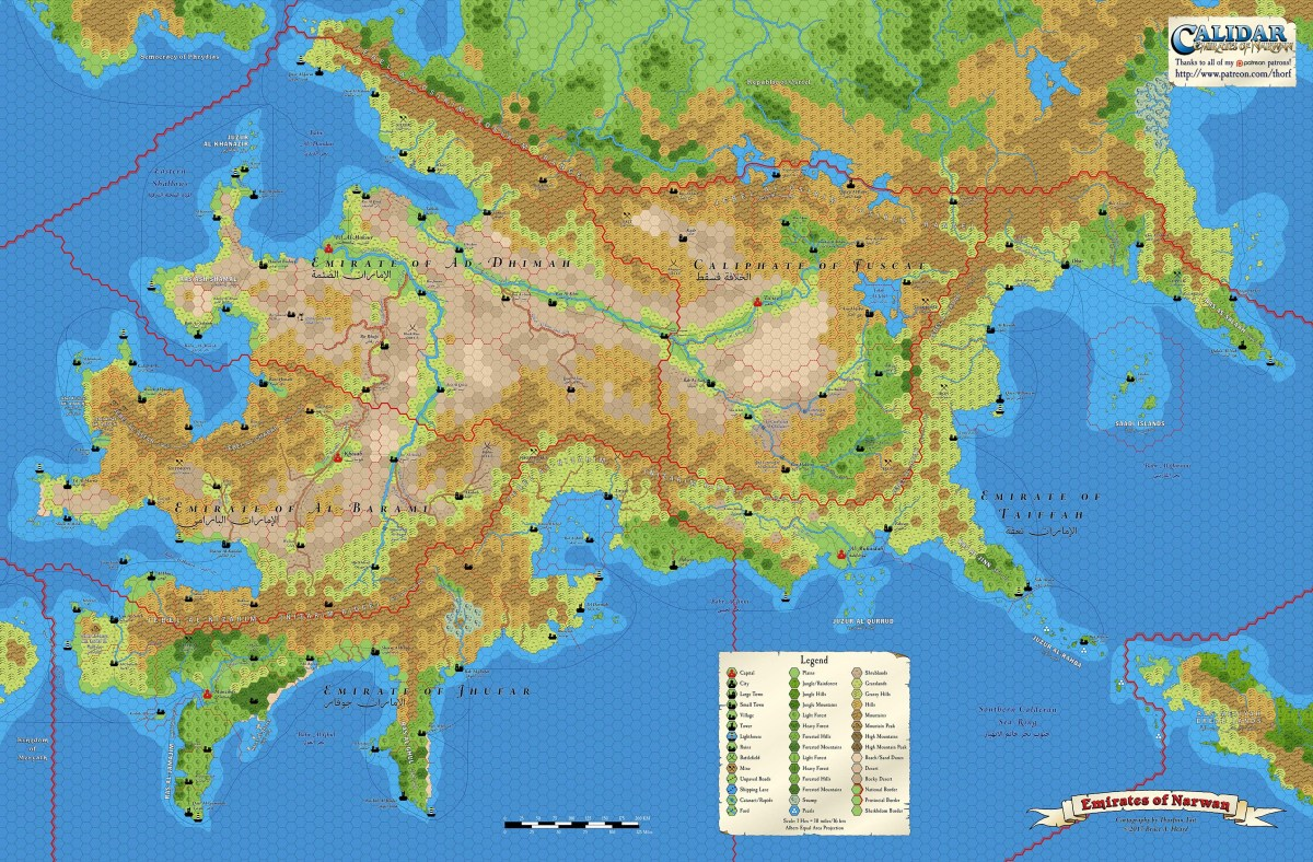 Narwan, 10 miles per hex Full Map (Patreon)