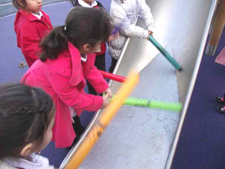 We love our new Foundation yard – We are creating our own aeroplane to play in with the construction equipment!