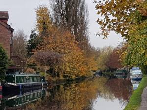 Autumn boat hire on the Bridgewater Canal Stockton heath cheshire