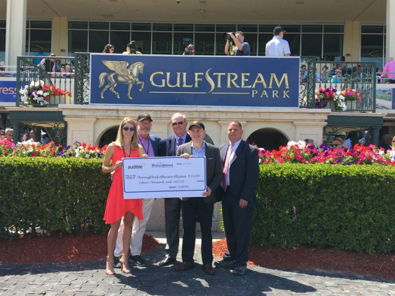 Audible Inc. donates to the Thoroughbred Aftercare Alliance at the Florida Derby at Gulfstream Park