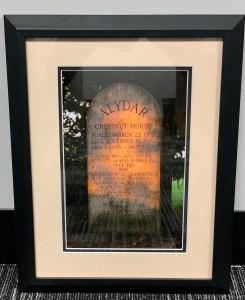 Framed Photo Remembering Hall of Famer Alydar