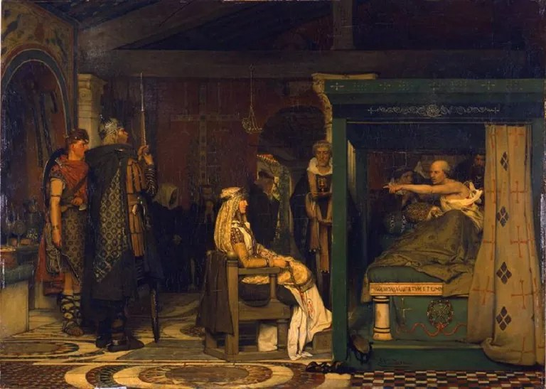 Oil painting showing Queen Fredegund at the deathbed of Bishop Praetextatus.