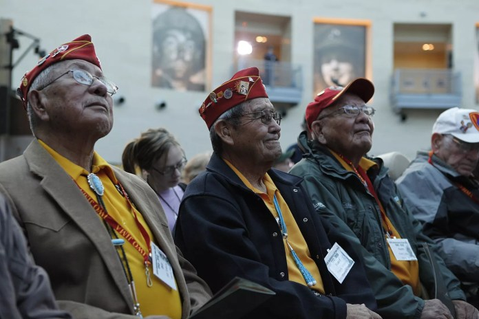 Group of Navajo code talkers gathered together decades after WWII.
