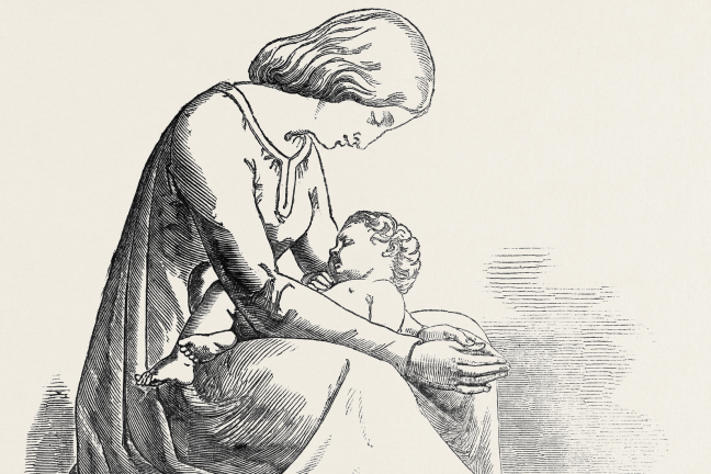 Drawing of The Mother's Prayer. (Sculpture), By W.C. Marshall, R.A.