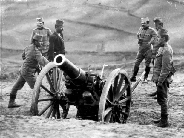 Serbian soldiers with a Howitzer during World War I.