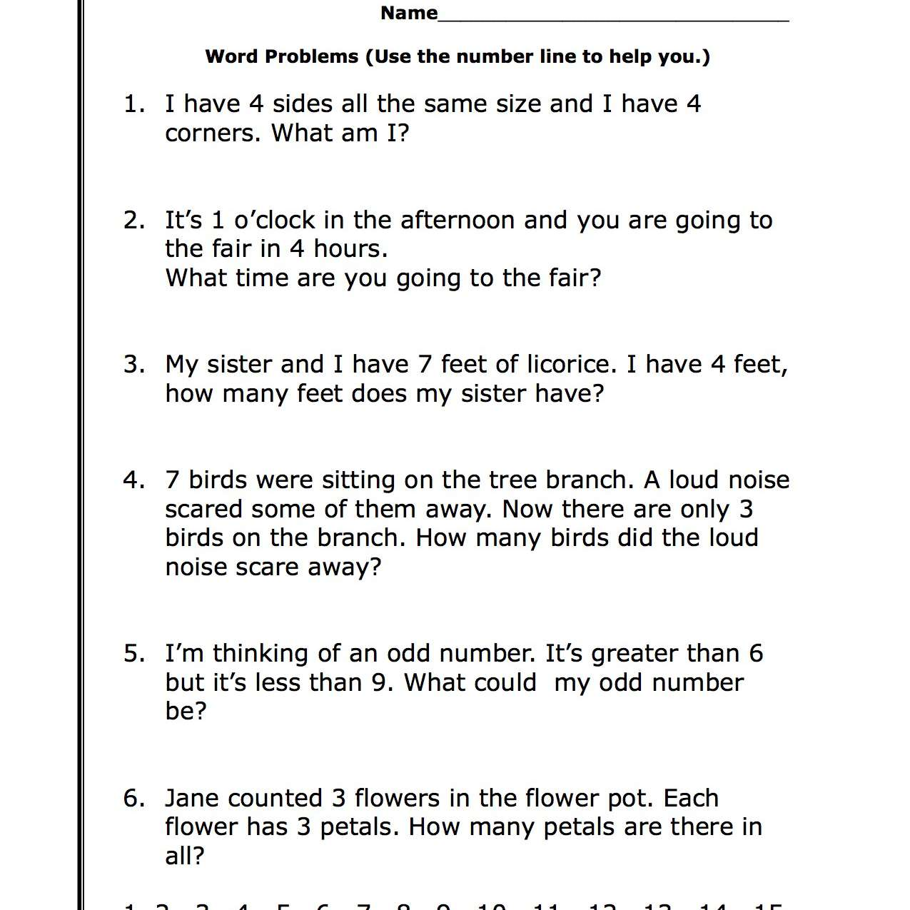 First Grade Math Word Problems