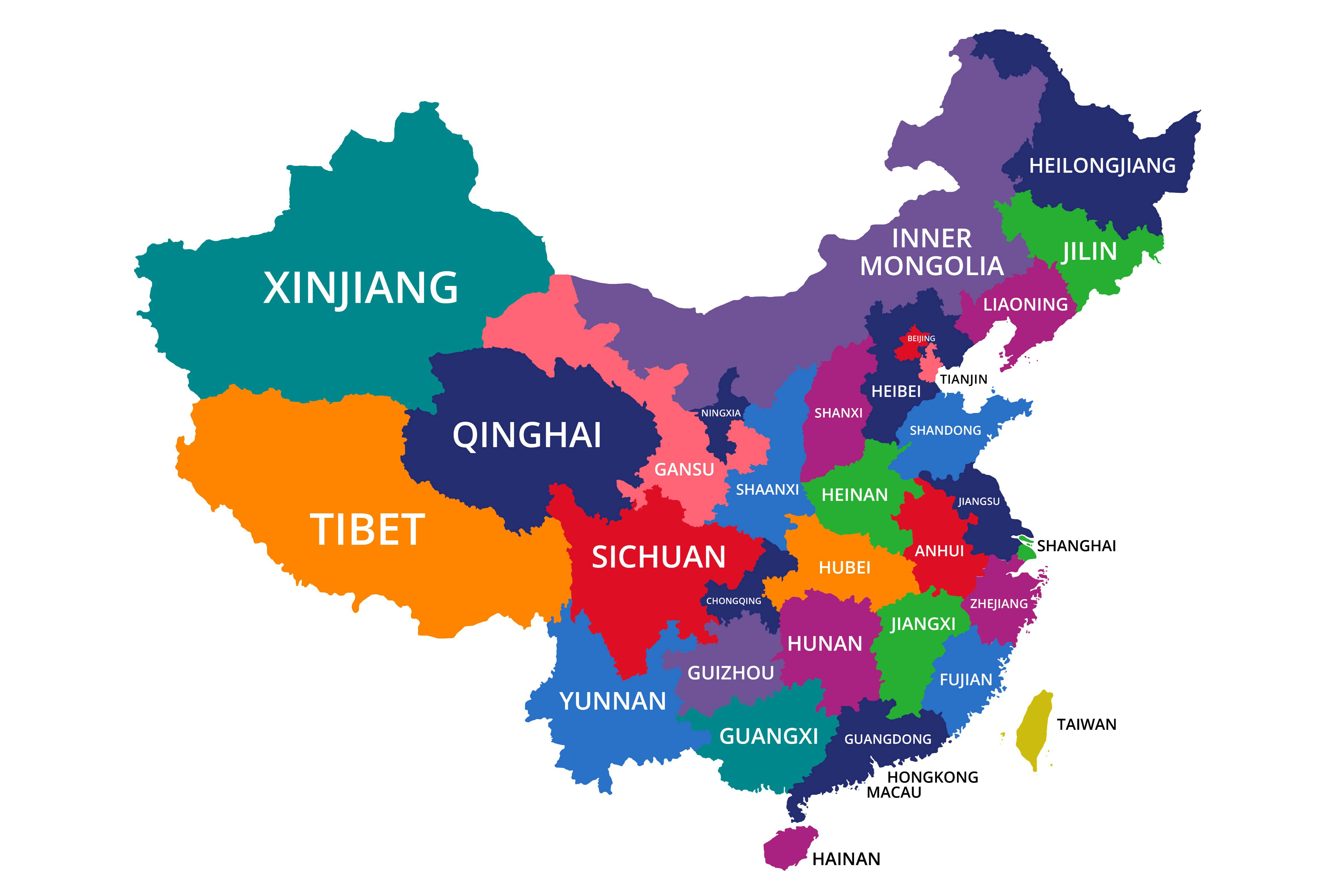The 23 Provinces In The Country Of China