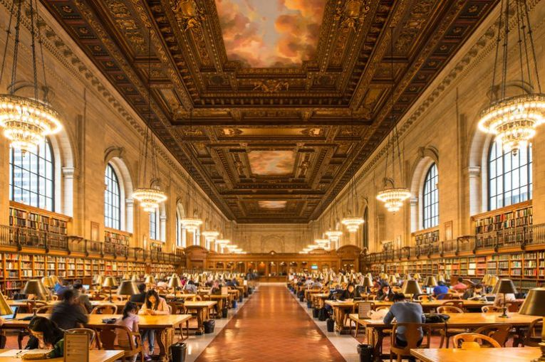American Literary Periods People studying in the New York Public Library