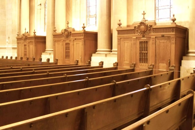 Pews and confessionals, Shrine of the Apostle Paul, Saint Paul, MN