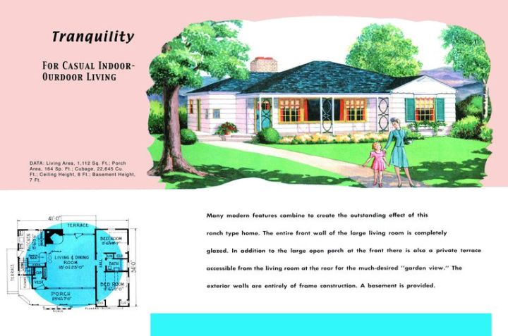 Ranch Homes   Plans for America in the 1950s 1950s floor plan and rendering of Ranch style house called Tranquility