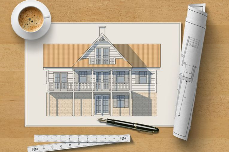 How To Be a Certified Professional Home Designer Architectural elevation drawing of a wooden house on a table with pen   ruler  rolled