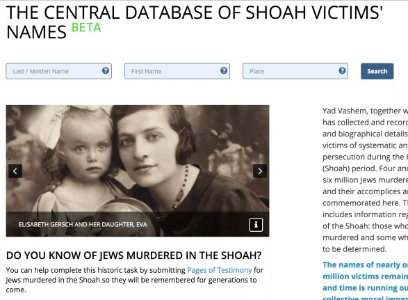 A Base de Dados Central dos Nomes das Vítimas da Shoah agora contém 4,5 milhões de nomes de vítimas do Holocausto.