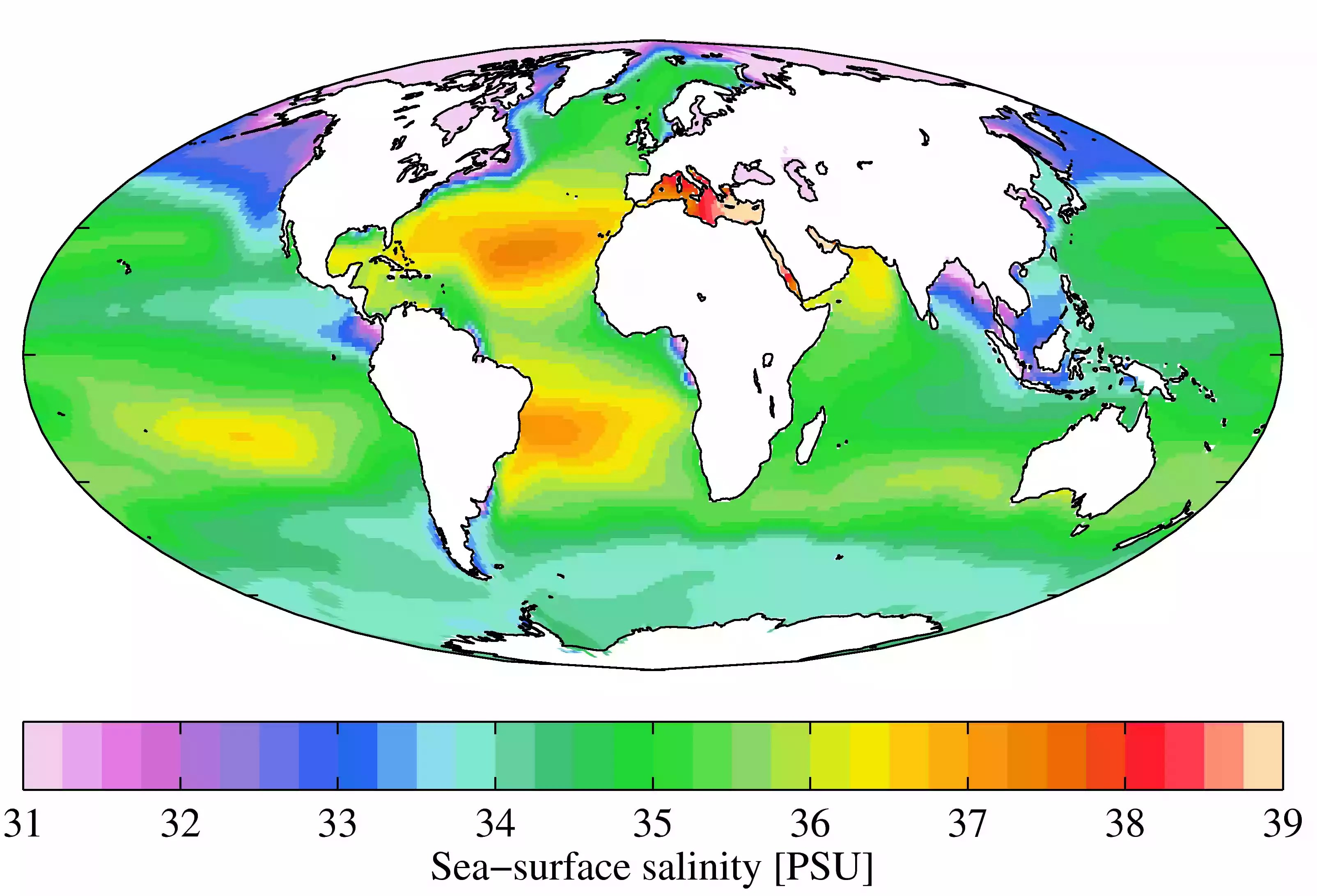 Annual mean sea surface salinity from the 2009 World Ocean Atlas. Salinity is listed in practical salinity units (PSU).