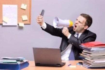 Salesman Yelling into Phone
