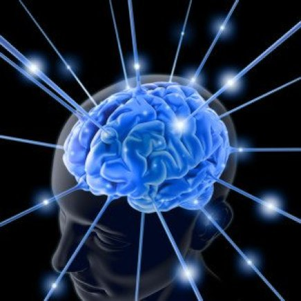 Blue Brain in Transparent Man's Head