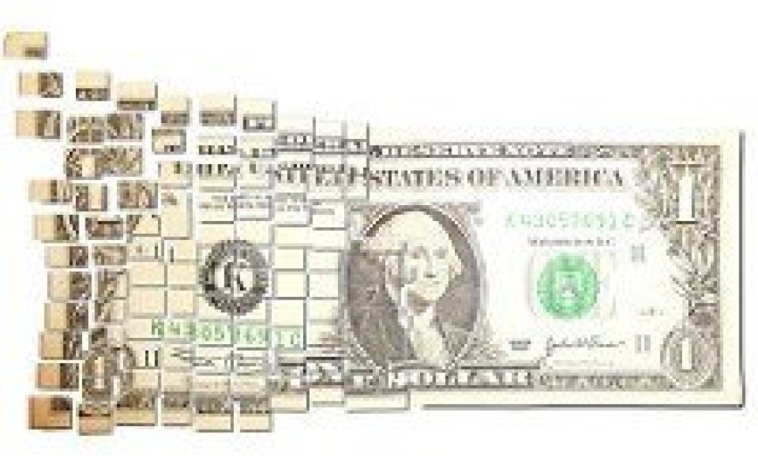 Dollar Bill Cut into Pieces