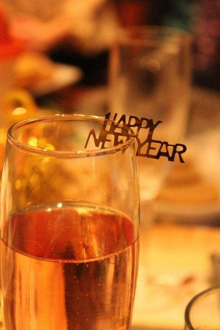 Happy New Year on a Glass of Champagne