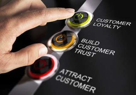 Finger Pressing Customer Loyalty Button
