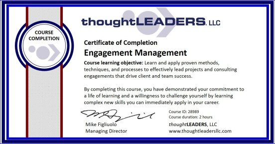 TITAN eLearning Certificate - Engagement Management
